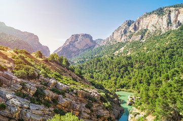 Panorama view of Gorge of Gaitanes in Spain