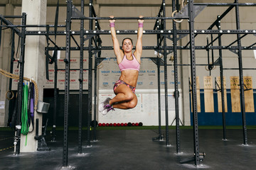 Woman training with chains