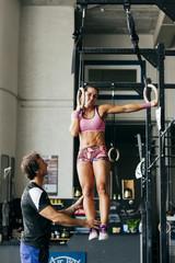Man training sportive girl