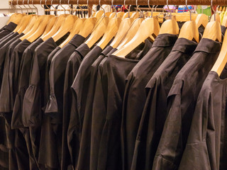 Clothing on hanger in the modern shop