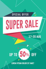 Super sale banner / flyer template. Vector illustration for social media banners, promotion, flyer and poster