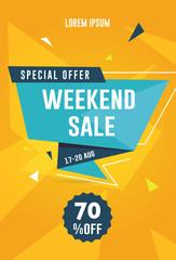 Weekend sale flyer / banner. Vector illustration for social media banners, promotion, flyer and poster