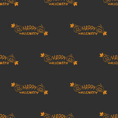 Halloween pattern with autumn leaves and pumpkins on a black background, greeting card