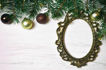 Christmas vintage frame and Christmas decoration