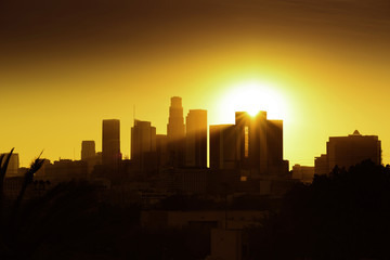 Beautiful sunset of Los Angeles downtown skyline