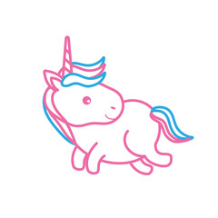 line nice unicorn with horn and hairstyle design vector illustration