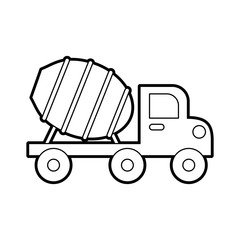 concrete mixer truck with special equipment construction machinery vector illustration