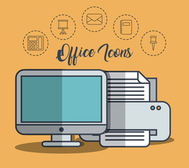 printer and office elements icons over orange background colorful desing vector illustration
