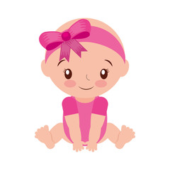 happy and smiling baby girl adorable vector illustration