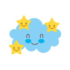 cartoon cute cloud stars baby shower image vector illustration