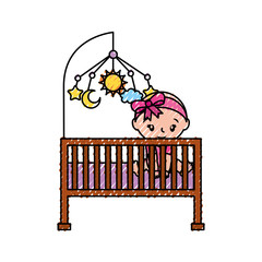 girl with mobile toy cot baby shower furniture infant vector illustration