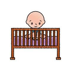 boy cot baby shower furniture infant symbol vector illustration