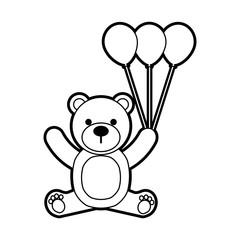 baby shower teddy girl and balloon cute animal vector illustration