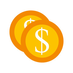 dollar coin currency cash money bank vector illustration