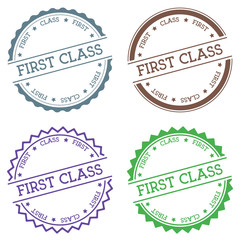 First Class badge isolated on white background. Flat style round label with text. Circular emblem vector illustration.