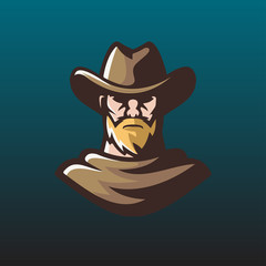 old man cowboy logo mascot illustration