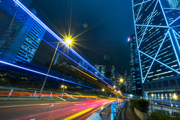 night view of urban traffic with cityscape in Hong Kong,China.