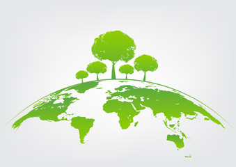 Green tree on earth for ecology friendly concept and World environment and sustainable development concept