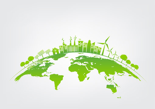 Green city on earth, World environment and sustainable development concept, vector illustration