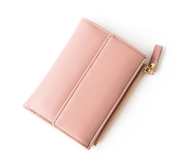 Closeup modern pink woman wallet on white background