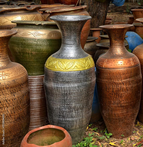 Unique Handmade Colorful Ceramic Vases Clay Pots Stacked For Sale
