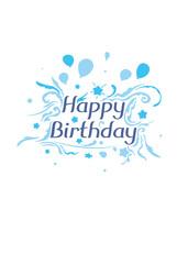 Happy Birthday Card, blue (Vector Art)