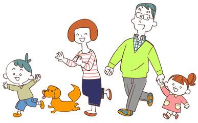 家族 歩く