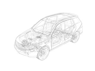 Technical drawing of car, illustration