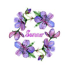 Watercolor illustration of flowers frame and summer lettering. Violet forest geranium.