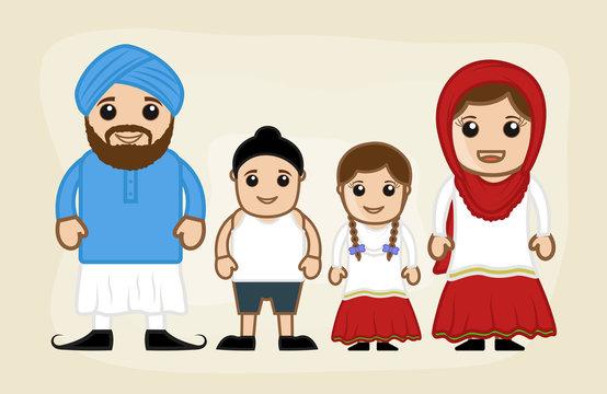 Happy Cartoon Family