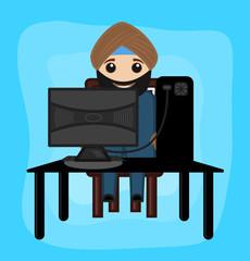 Cartoon Sardar Working on Computer