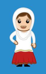 Happy Cartoon Punjabi Woman Character