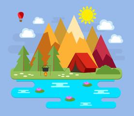 Горы. Горный пейзаж. Отпуск в горах рядом с озером. Векторная иллюстрация.