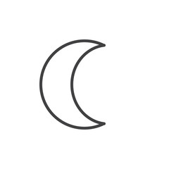 Moon symbol line icon, outline vector sign, linear style pictogram isolated on white. Astrology symbol, logo illustration. Editable stroke.