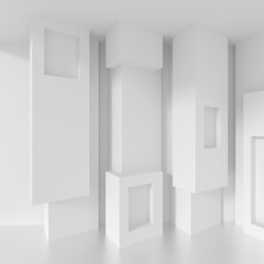 White Background with Minimalistic Building Construction. Column Interior Concept. 3d Rendering
