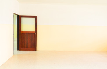 wooden door Interiors in room the with copy space add text
