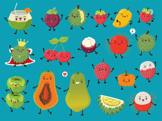 Vintage food poster design with vector coconut, mangosteen, durian, strawberry, mango, cherry, rambutan, cabbage, papaya, lychee, pumpkin character.