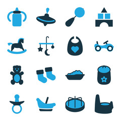 Set of 16 childhood bi-color icons