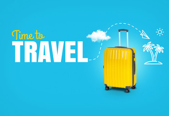 Concept trip with text Time to Travel. Bright yellow suitcase on a blue background. Travel Icons. Palms, aircraft, sun.