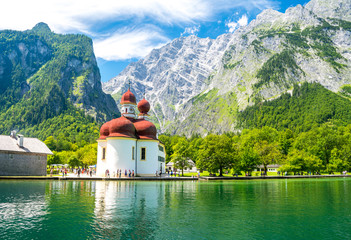 Foto auf Leinwand See / Weiher Konigsee lake with st Bartholomew church surrounded by mountains, Berchtesgaden National Park, Bavaria, Germany