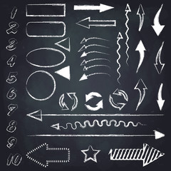 Set of different chalk arrows, numbers, geometric figures and other symbols. Hand drawn illustration. Chalkboard background.