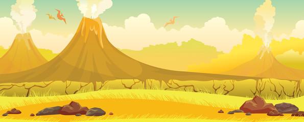 Volcanoes, grass, pterodactyls - prehistoric nature landscape.