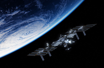 Fotomurales - International Space Station Orbiting Planet Earth