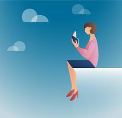 woman reading books vector illustration
