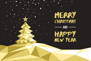 winterliche Weihnachtskarte Polygon gold