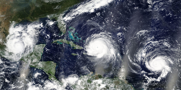 Overview of three hurricanes Irma, Jose and Katia in the Carribean Sea and the Atlantic Ocean - Elements of this image furnished by NASA