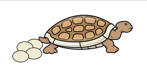 Cartoon Tortoise with Eggs - handmade clip-art vector