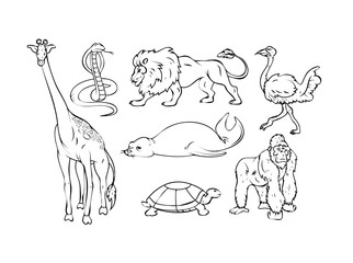 Cartoon Wild Animals Drawing Set - handmade clip-art vector