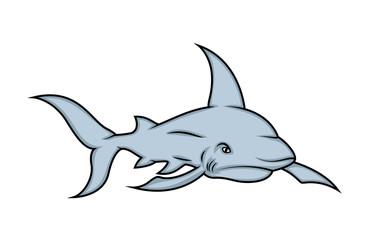 Angry Shark Mascot - handmade clip-art vector