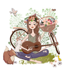 cartoon young woman with guitar and bicycle